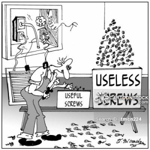 A repairman has a small box marked 'Useful Screws' next to a huge box of 'Useless Screws.'